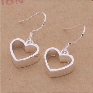 Jewelry - NWOT Silver Open Heart Hollow Earrings